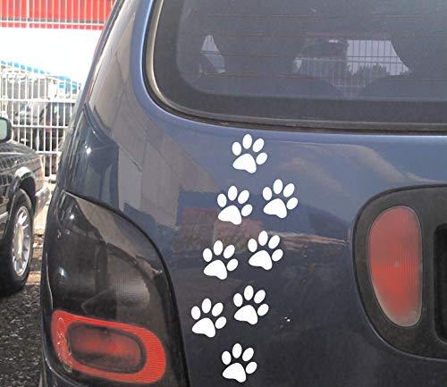 cartattoo4you® AK-00584 | Pfoten 8er Set |K-Serie| je Pfote 5 x 5 cm, Anordnung frei wählbar | Farbe weiß |in 24 Farben erhältlich, Autoaufkleber Aufkleber Tatze Welpe Hund Hunde
