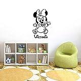 Wanddekor Mickey Minnie Mouse Personalisierte Minnie Maus Kinderzimmer benutzerdefinierte Babyname Cartoon Home Decor Kinder Mädchen Junge Zimmer Wandtattoo