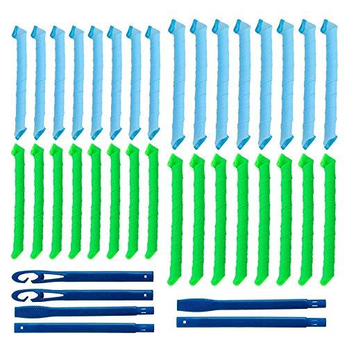 32 piezas de rizadores de pelo en espiral mágicos juego de herramientas de peinado sin calor flexibles rulos de pelo DIY con ganchos de peinado para mujeres y niñas (azul y verde,45cm/55cm)