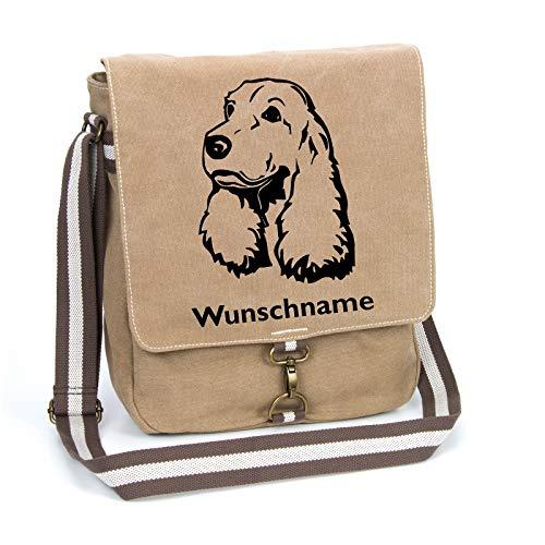 English Cocker Spaniel Schultertasche Umhängetasche Tasche mit Hundemotiv und Namen personalisiert (Motiv 2)