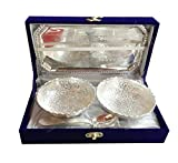 International Gift German Silver Brass Round Bowl Sets with Tray and Spoon with Royal Luxury Velvet Box Packing Used for Dry Fruit, Sweets and Home Decor Best Gift for Annivarsary/Diwali
