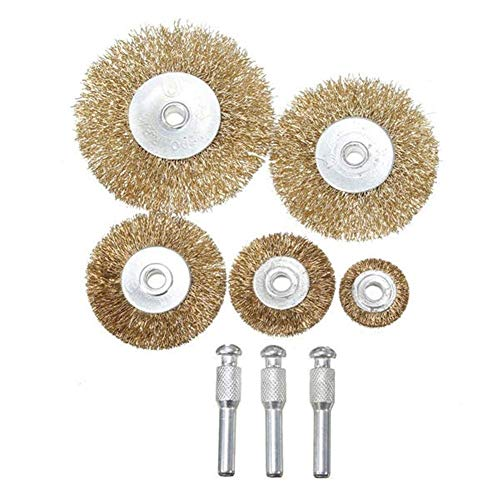 KXA Abrasive, 8pcs Set Polishing Brush for Grinder Drill Rotary Tool Flat Mini Brass Wire Cup Wheel