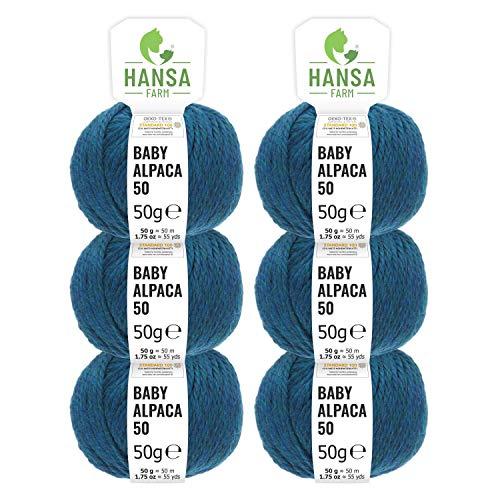 HANSA-FARM 100% Laine d'alpaga (bebé) dans 50+ Couleurs (ne Gratte Pas) - Kit de 300g (6 x 50g) - Laine Baby alpaga pour Tricot & Crochet dans 6 épaisseurs de Fil de Deep Ocean (Heather)