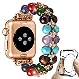 fastgo Chakras Beaded Band Compatible with Apple Watch 38mm Women 7 Healing Yoga Natural Pearl Stones Stretch Bracelet Jewelry Boho Strap Gift for Iwatch SE Series 6 5 4 3 2 1 Rose Gold 38mm/40mm