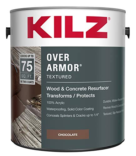 KILZ Over Armor Textured Wood/Concrete Coating, 1 gallon, Chocolate Brown