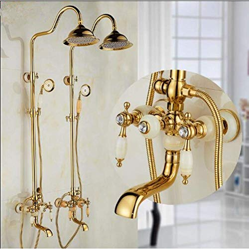 Zixin Dusche Badewanne und Hahn-goldenes Messings und Jade Bad Dusche Set Brass Wand befestigte Regendusche Handbrause Wasserhahn Set