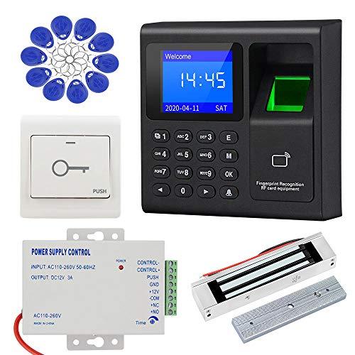 KDL Sistema de control de acceso RFID Controlador de acceso de huellas dactilares, fuente de alimentación DC12V, cerradura magnética eléctrica de 180kg con interruptor de puerta, llaveros de 125KHz