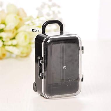 12PCS Mini Rolling Travel Suitcase Shape Candy Box Wedding Favor Gift Decor (Black)