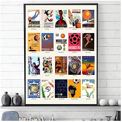 BINGJIACAI Póster de la bola de la Copa del Mundo, póster de fútbol, evolución del fútbol, imágenes artísticas de pared, impresiones, pintura en lienzo, decoración del hogar, 42x60cm sin marco