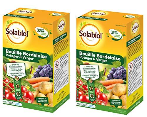 Solabiol SOBB20800X2 Bouillie Bordelaise Lot de 2 x 800g-Traitement Mildiou, Tavelure Cloque | Utilisable en Agriculture Biologique, Colorée Bleue, Efficient