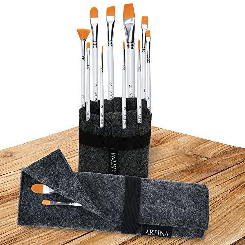Artina 11 teilig Pinselset Malen Eindhoven - Pinseltasche mit Künstler Pinsel Set in Pinselständer aus Filz - Pinsel für Acryl & Malen - 10 Pinsel mit Pinseltasche & Pinselhalter in Einem - Anthrazit