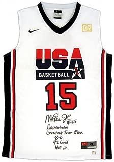 Magic Johnson Signed Official NBA Nike White USA Basketball 5 Stat Jersey