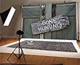 Hunting 10x6.5 FT Vinyl Photography Backdrop,Gone Hunting Written on Wooden Board Old Worn Out Cottage Door Seasonal Hobby Fun Background for Photo Backdrop Baby Newborn Photo Studio Props