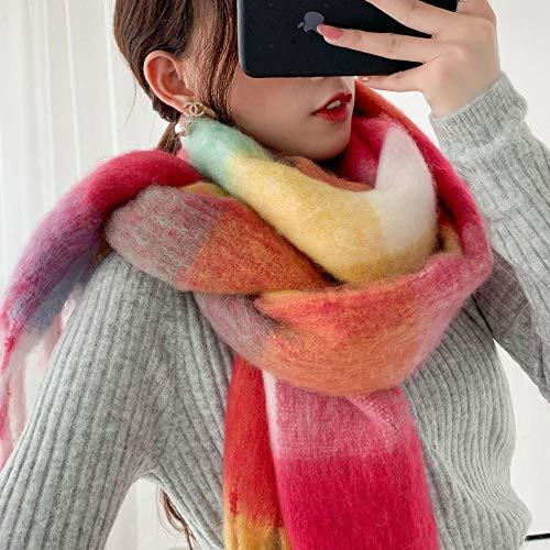 DLSM Écharpe à Carreaux épais Femmes Hiver tricotant châle écharpe Assortie de Couleur Chaude Sauvage-Pas de Grande Marque-vin Rouge_240 cm