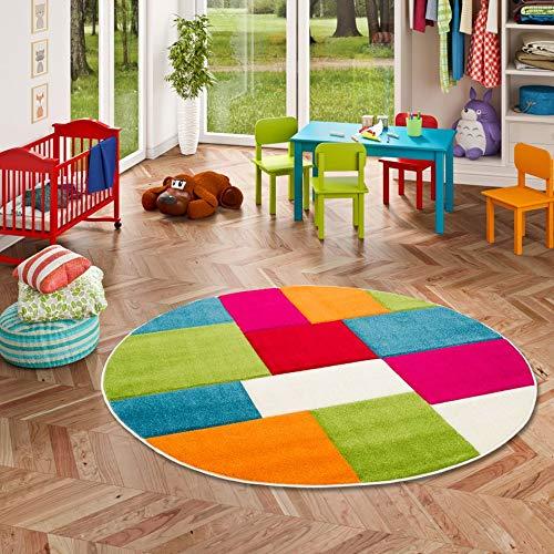 Savona Kinder Teppich Kids Karo Bunt Design Multicolour Rund in 3 Größen