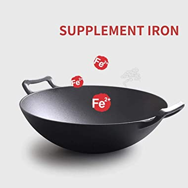 SOGA 36CM Commercial Cast Iron Wok FryPan with Wooden Lid - Great for Frying, Cooking, Boiling, pre-Seasoning, and More
