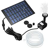 Mudder Solar Fountain Pump Solar Powered Panel Water Pump Garden Floating Pump with 4 Nozzles and 3.2 ft Silicone Clear Tubing for Pond, Fountain, Bird Bath, Garden Decoration, Water Cycling