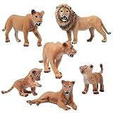 FLORMON Figuras de Animales 6 Piezas Realista Leones Modelo de acción El plastico Animal Salvaje Juguetes de Fiesta favores Juguetes educativos de la Granja Forestal Regalo para niños