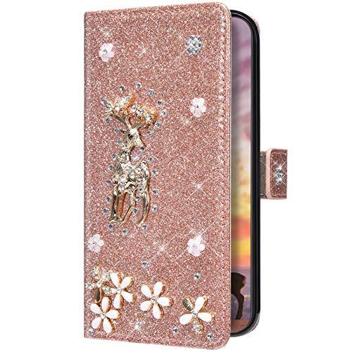 Uposao Funda de piel para teléfono móvil compatible con Samsung Galaxy S20 FE, brillante, brillantes, flores, animales, con tapa, tarjetero, oro rosa
