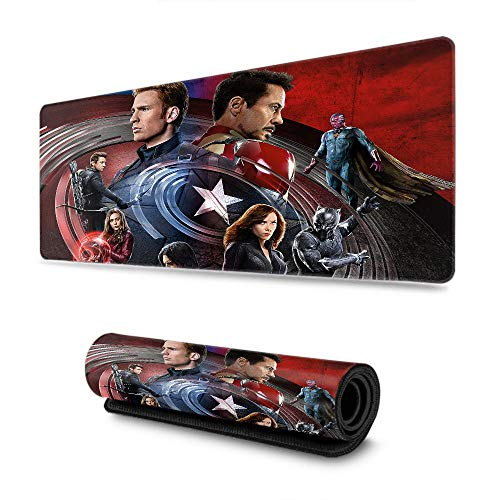 Quality Selection Comfortable Mouse Pad Captain America Civil War Non-Slip Rubber Base Mousepad with Stitched Edge Enjoy & Smooth Operating Experience 15.7' x 35.4' inch