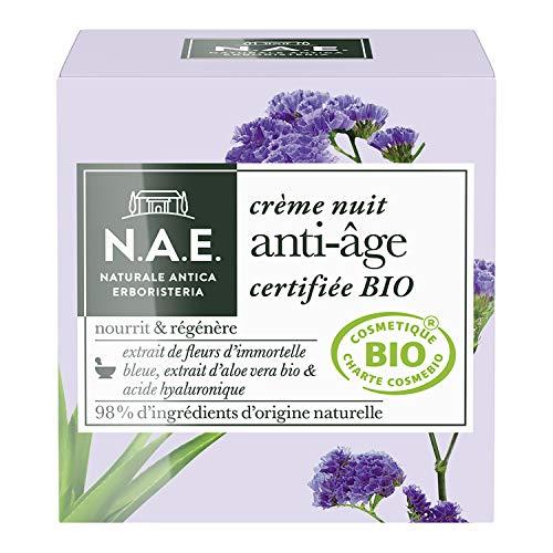 N.A.E. - Crème Nuit Anti Âge Visage - Formule Certifiée Bio - Huile de Pépins de Raisin Bio, Extrait d'Aloe Vera Bio et Acide Hyaluronique - 98% d'ingrédients d'origine naturelle - Contenant de 50ml