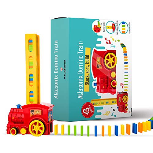 Domino Train Set  80 Pcs Fun and Colorful Train That Prepares Your Domino Rally Experience Quickly and Automatically for Boys and Girls Age 38 | Red