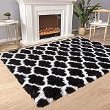 Carvapet Moroccan Shaggy Soft Faux Sheepskin Fur Area Rugs Floor Mat Luxury Beside Carpet for Bedroom Living Room 5ft x 7ft, White Strips on Black