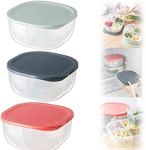 TTCPUYSA 4 In 1 Onion and Garlic Drained Storage Box,Vegetable Ginger Garlic Onion Storage Box with Filter,for Fruits Vegetables Drained Storage Box (Pink)