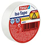 tesa 56192-00011-02 Cinta aislante en PVC 10m x 15mm, Color blanco