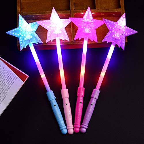 LMKIJN Gracioso 1PC Kids Plastic Large Hollow Flash Magic Wand Magic Fairy Bar Flash Toy Colorido