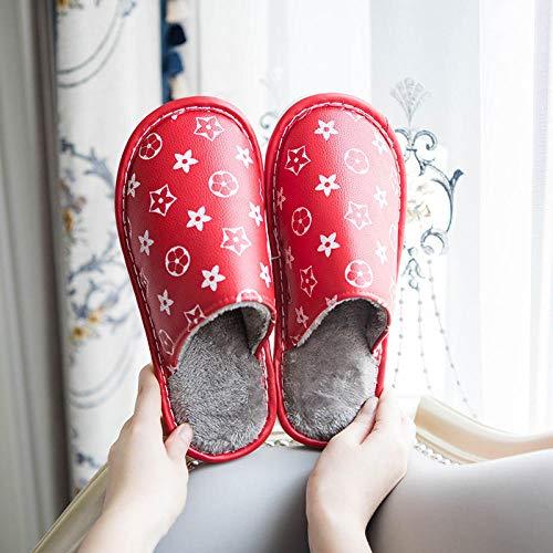 ypyrhh Interior Zapatillas Invierno Al Aire Libre,Home Furry Slippers, Non-Slip Waterproof Cotton Slippers-9 Red_38-39