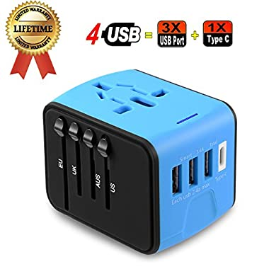 Travel Adapter, JMFONE Universal Travel Adapter 3.4A Type C 4 USB International World Power Plug Adapter Kit Travel Wall Charger USB Plug UK, EU, AU, US 200 Countries (Blue)
