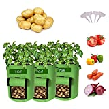 7 Gallon Garden Potato Grow Bags with Handles & Harvest Flap,,Potatoes-Growing-Containers,Ventilated Plants Planting Bag Tomato, Carrot, Onion,Various Vegetables and Fruits
