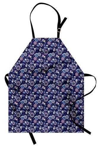 ABAKUHAUS Tuin Keukenschort, Doodle Style Corsage Pattern, Unisex Keukenschort met Verstelbare Nekband voor Koken en Tuinieren, Blue Cream