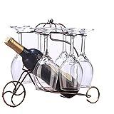 Supporto di vetro di vino 2in 1Hanging vino portabicchieri creativo bicicletta portabicchieri portabottiglie in ferro battuto vetro ristorante, soggiorno, cantina Bronze
