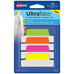 Great for organizing; Avery Ultra Tab margin tabs are great for organizing, referencing and indexing notebooks, files, planners and more; Avery tabs are perfect for use as bible tabs, journal tabs, report tabs and spiral notebook tabs Writable note t...