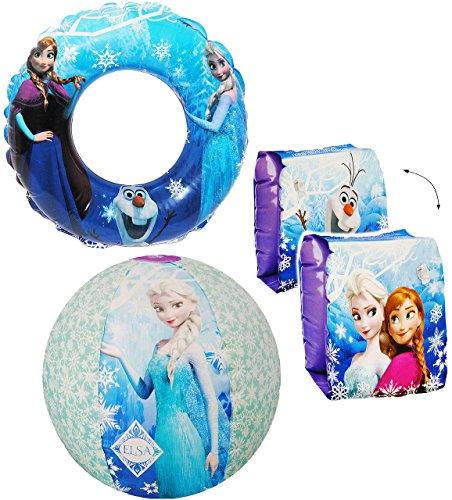 alles-meine.de GmbH 4 TLG. Set _ Schwimmflügel & Schwimmring & Strandball - aufblasbar -  Disney die Eiskönigin - Frozen  - passend für 2 bis 6 Jahre - Schwimmärmel & Schwimmhi..