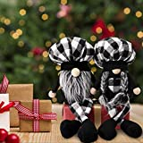 2PCS Plaid Kitchen Chef Gnome Plush w/Long Legs, Swedish Black White Plaid Cooking Tomte, Couple Nisse Elf Doll for Home Table Display Ornament, Unique Valentine's Day Easter Wedding Gifts