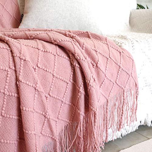 Nordic ins effen kleur netto rood beddengoed leisure deken bed sjaal kwast deken decoratief model zacht bed hotel, ongeveer 130 * 175cm (inclusief 20cm kwast), rook roze ruit