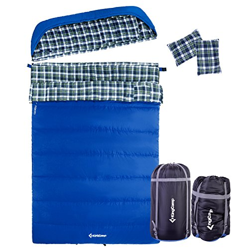 KingCamp Cotton Flannel Double Sleeping Bag for Adults Queen Size XL Warm Cold Weather Sleeping Bag with Compression Sack 3 Season Waterproof Sleeping Bag for Camping, Backpacking, Included 2 Pillows