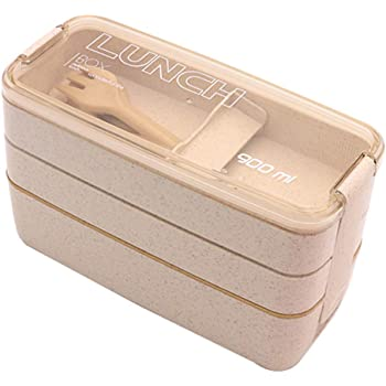 Bento Box for Kids and Adults - Pstarts Leakproof Lunchbox with Utensils, dividers - Lunch Solution Offers Durable, Leak-Proof, On-The-Go Meal and Snack Packing (Beige)
