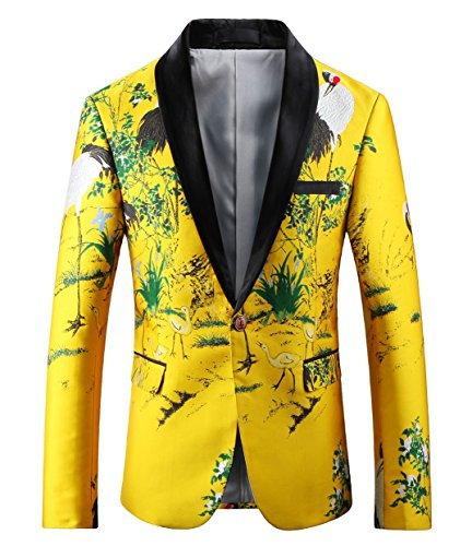 Mens Slim Fit Yellow Blazer Printed Sport Coat US Size 40(Label Size 56/3XL)