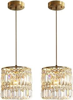Crystal Chandelier Raindrop Modern Island Pendant Light Linear Hanging Ceiling Light Fixture for Dining Room Bedroom Living Room (2-Pack)