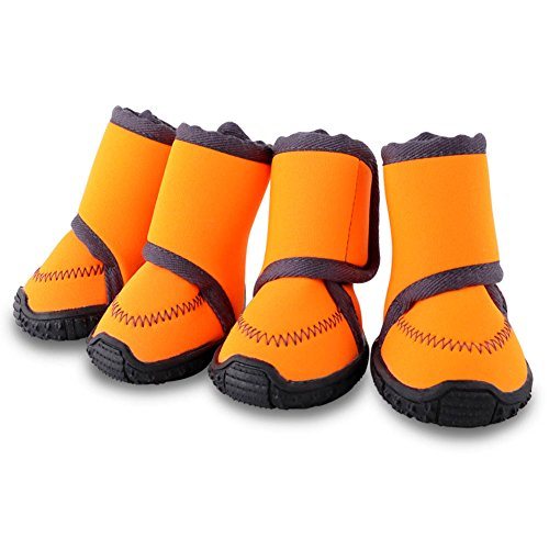 HaveGet Waterproof Dog Shoes Fluorescent Orange Dog Boots Adjustable Straps and Rugged Anti-Slip Sole Paw Protectors for (Small)