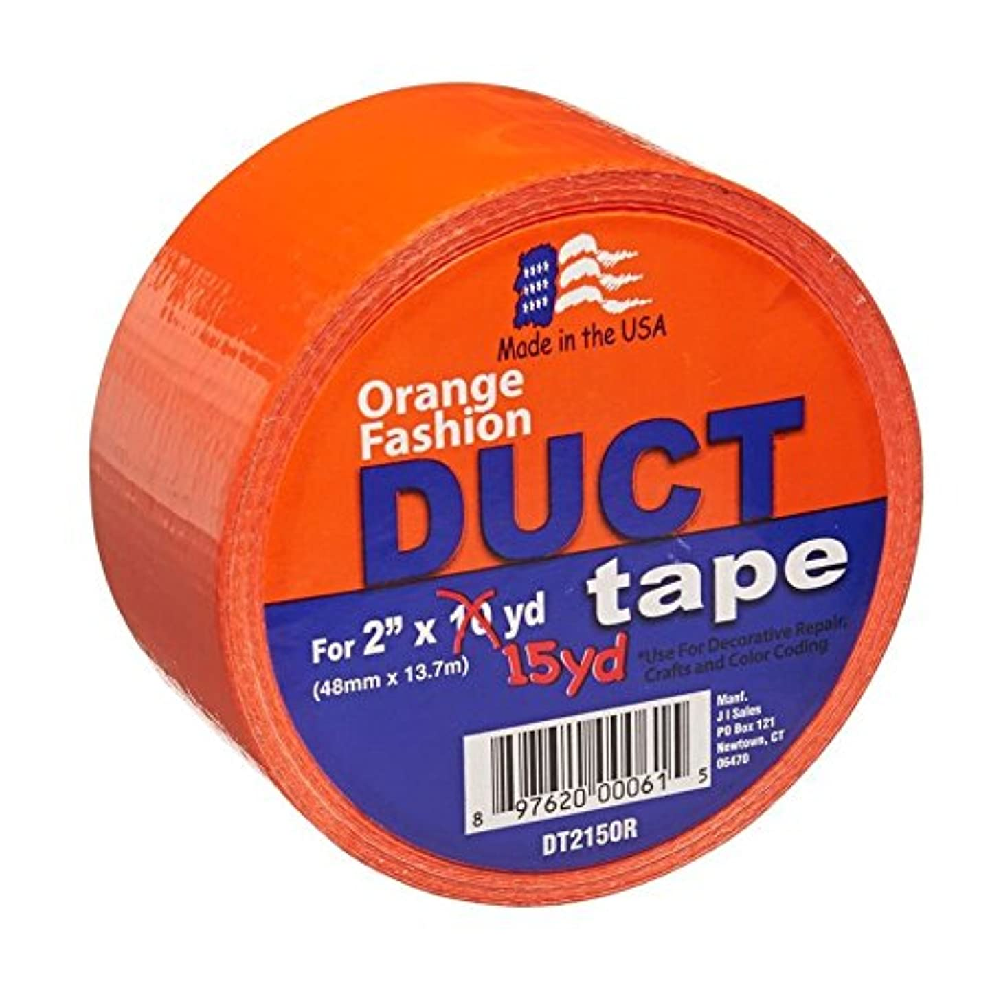 Signature Crafts Fashion Duct Tape Solid Orange DT215OR 15Yards 1.88 Inches Wide, 15 yd 1.88