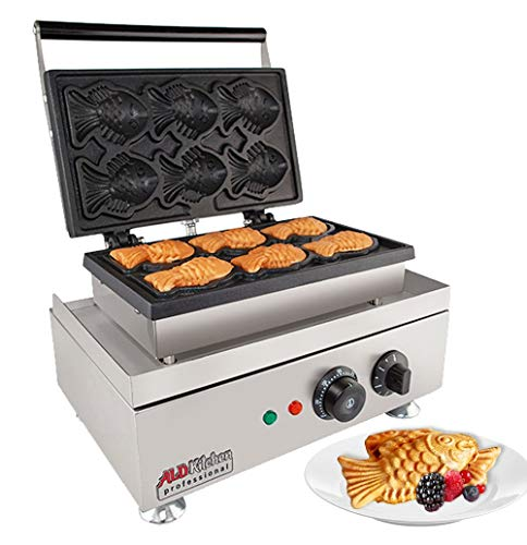 ALDKitchen Commercial Non-Stick Digital Taiyaki Gold Fish Waffle Machine 6-Cavity Fish Waffle Maker Baker (110V)