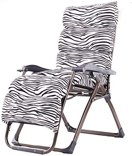 WJXBoos Zero Gravity Silla de jardín plegable y cojines de jardín, silla de jardín exterior, soporte de silla portátil, 260 kg (color: patrón cebra)