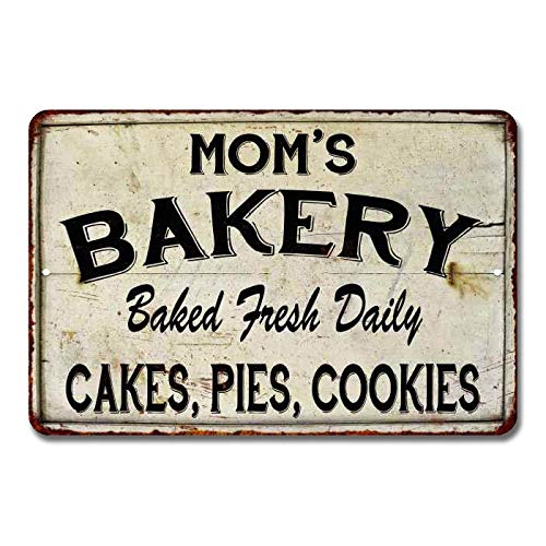 Mom's Bakery Sign Baked Goods Bakers Signs Decor Welcome Fresh Bread Rustic Pies Cakes Decor Vintage Decorations Homemade Plaque Tin Wall Art Gift 8 x 12 High Gloss Metal 208120020088