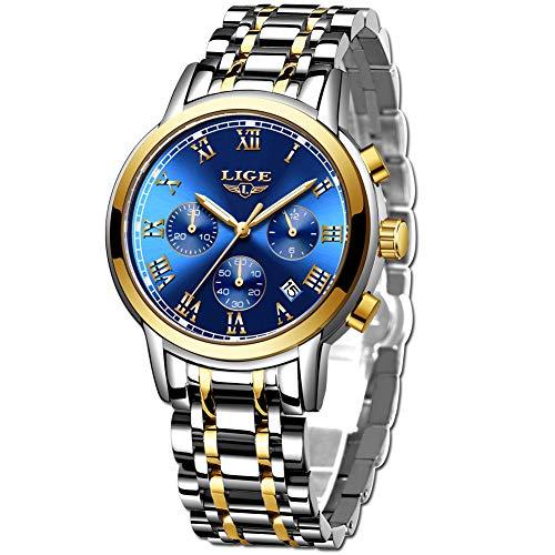 LIGE Relojes Hombre Moda Acero Inoxidable Impermeable Reloj Hombre Militar Deportes Cronógrafo Relojes