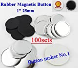 Rubber Magnetic 1' 25mm 100sets Badge Button Parts Maker Freezer Sticker DIY